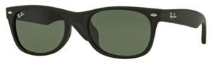 Ray Ban RB2132F Black Rubber with Crystal Green Lenses