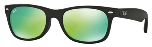 Ray Ban RB2132F Rubber Black with Crystal Grey Mirror Green Lenses
