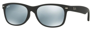 Ray Ban RB2132F Rubber Black with Crystal Light Green Mirror Silver Lenses