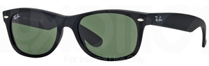 Ray Ban RB2132 New Wayfarer Rubber Black w/ Crystal Green Lenses 622