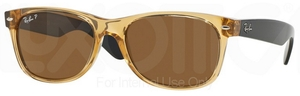 Ray Ban RB2132 New Wayfarer Honey w/ Crystal Brown POLARIZED Lenses 945/57