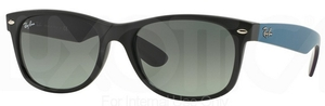 Ray Ban RB2132 New Wayfarer Matte Black w/ Grey Gradient Dark Grey Lenses