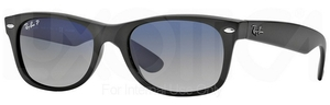 Ray Ban RB2132 New Wayfarer Matte Black w/ POLAR Blue Grad. Grey Lenses 601S78