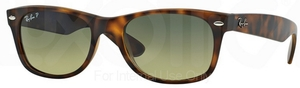Ray Ban RB2132 New Wayfarer Matte Havana w/ Blue/Green Mirror POLAR Lenses 894/76