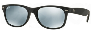 Ray Ban RB2132 New Wayfarer Rubber Black w/ Green Mirror Silver Lenses