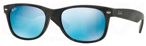 Ray Ban RB2132 New Wayfarer Rubber Black with Green Mirror Blue Lenses
