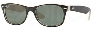 Ray Ban RB2132 New Wayfarer Top Black on Beige w/ Crystal Green Lenses