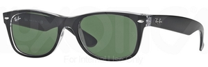 Ray Ban RB2132 New Wayfarer Top Black on Transparent w/ Green Lenses 6052