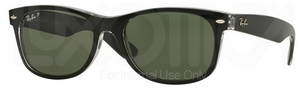 Ray Ban RB2132 New Wayfarer Top Black On Transparent w/ Green POLAR Lenses 605258