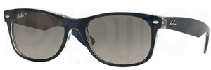 Ray Ban RB2132 New Wayfarer Top Blue on Transparent w/ Gradient Grey POLAR Lenses 6053M3