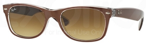 Ray Ban RB2132 New Wayfarer Top Brushed Brown on Trasp. w/ Brown Gradient Dark Brown Lenses