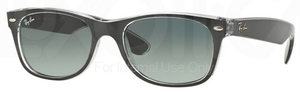 Ray Ban RB2132 New Wayfarer Top Brushed Gunmetal on Trasp. w/ Grey Gradient Dark Grey Lenses