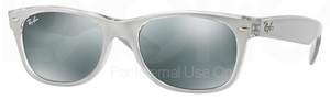 Ray Ban RB2132 New Wayfarer Top Brushed Silver on Trasp w/ Green Mirror Silver Lenses 614440