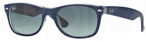 Ray Ban RB2132 New Wayfarer Top Matte Blue on Transparent w/ Grey Gradient Lenses 605371
