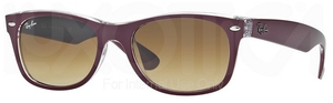 Ray Ban RB2132 New Wayfarer Top Matte Bordo' on Transparent w/ Brown Gradient Lenses 605485