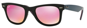 Ray Ban RB2140 Wayfarer Black w/ Green Mirror Fuxia Lenses
