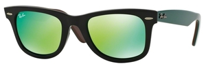 Ray Ban RB2140 Wayfarer Black w/ Grey Mirror Green Lenses
