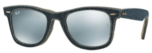 Ray Ban RB2140 Wayfarer Jeans Blue/Jeans Green Brown w/ Light Green Mirror Silver Lenses