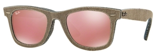 Ray Ban RB2140 Wayfarer Jeans Green Brown/Jeans Blue w/ Light Brown Mirror Pink Lenses
