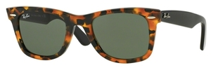 Ray Ban RB2140 Wayfarer Spotted Black Havana with Crystal Green Lenses