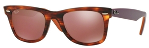 Ray Ban RB2140 Wayfarer Striped Havana w/ Brown Mirror Dark Red Lenses