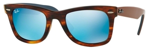 Ray Ban RB2140 Wayfarer Striped Havana w/ Grey Mirror Blue Lenses