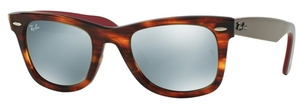 Ray Ban RB2140 Wayfarer Striped Havana w/ Light Green Mirror Silver Lenses