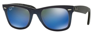 Ray Ban RB2140 Wayfarer Top Blue Gradient on Light Blue with Crystal Mirror Blue Lenses