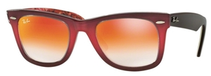 Ray Ban RB2140 Wayfarer Top Gradient Pink on Brown with Crystal Mirror Gradient Red Lenses