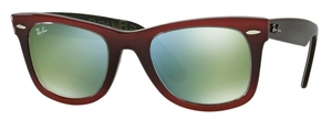 Ray Ban RB2140 Wayfarer Top Gradient Red on Light Red with Crystal Mirror Green Lenses
