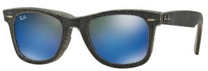 Ray Ban RB2140 Wayfarer Top Jeans Carbon on Grey w/ Green Mirror Blue Lenses