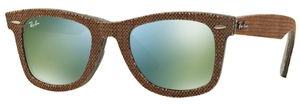 Ray Ban RB2140 Wayfarer Top Osaka Brown on Jeans Grey w/ Green Mirror Green Lenses