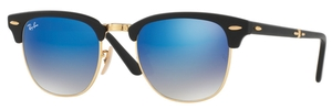Ray Ban RB2176 CLUBMASTER FOLDING Matte Black with Blue Flash Gradient Lenses