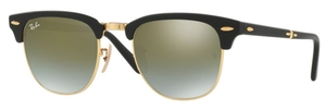 Ray Ban RB2176 CLUBMASTER FOLDING Matte Black with Green Flash Gradient Lenses