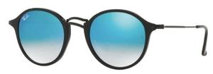 Ray Ban RB2447 Shiny Black w/ Mirror Gradient Blue Lenses