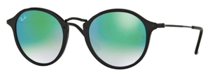 Ray Ban RB2447 Shiny Black w/ Mirror Gradient Green Lenses