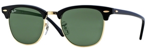 Ray Ban RB3016 Clubmaster Ebony/Arista w/ Crystal Green Lenses