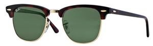 Ray Ban RB3016 Clubmaster Mock Tortoise/Arista w/ Crystal Green Lenses