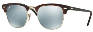 Ray Ban RB3016 Clubmaster Sand Havana/Gold Light Green Mirror Silver