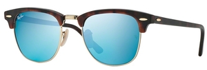 Ray Ban RB3016 Clubmaster Sand Havana/Gold w/ Grey Mirror Blue Lenses