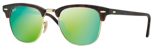 Ray Ban RB3016 Clubmaster Sand Havana/Gold w/ Grey Mirror Green Lenses