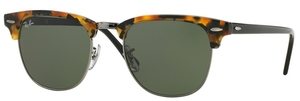 Ray Ban RB3016 Clubmaster Spotted Black Havana w/ Green Lenses