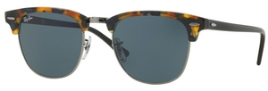 Ray Ban RB3016 Clubmaster Spotted Blue Havana w/ Grey Lenses