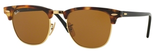 Ray Ban RB3016 Clubmaster Spotted Brown Havana w/ Brown Lenses