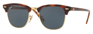 Ray Ban RB3016 Clubmaster Top Havana Brown/Yellow w/ Blue Lenses