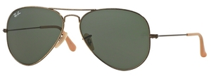 Ray Ban RB3025 Aviator Large Metal Antique Gold w/ Green Lenses 177