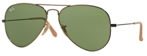 Ray Ban RB3025 Aviator Large Metal Antique Gold w/ Green Lenses 177/4E