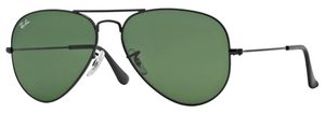 Ray Ban RB3025 Aviator Large Metal Black with Crystal Grey Green Lenses