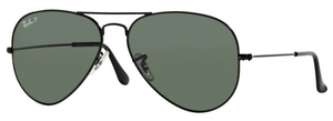 Ray Ban RB3025 Aviator Large Metal Black with Polarized Crystal Green Lenses