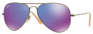 Ray Ban RB3025 Aviator Large Metal Brushed Bronze Demi Shiny w/ Grey Mirror Purple Lenses 167/1M